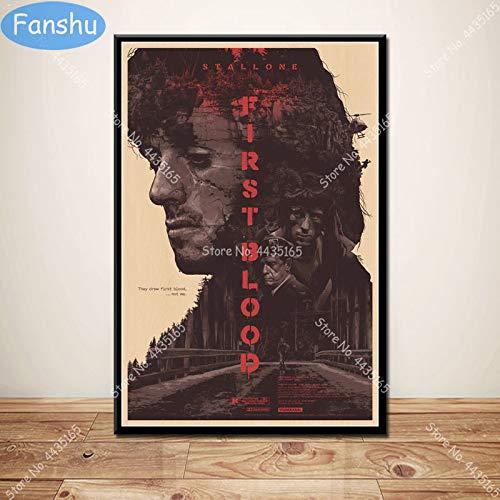 wtnhz Kein Rahmen Kunstplakat Hot First Blood Classic Sylvester Stallone Vintage Poster und Drucke Wandkunst Dekoration Leinwand Kinderzimmer Home Decor 40x50cm