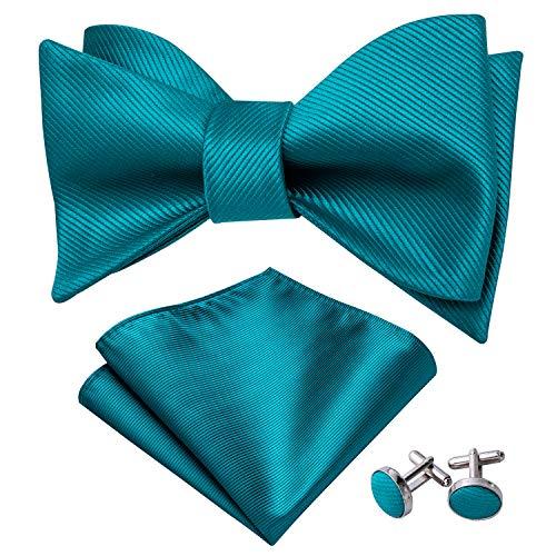 YOHOWA Heren Zelf Tie Bow Tie met Pocket Vierkant Zijde Boeg Tie Manchetknopen Set