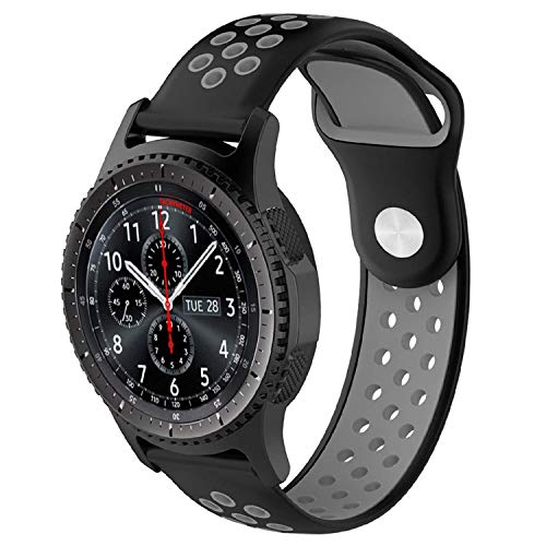 TASLAR Dual-Color Soft Silicone Sport Quick Release Watch Strap Wristband TPU Breathable Band Bracelet Compatible with Huawei Watch GT 2 46mm (Black Gray)