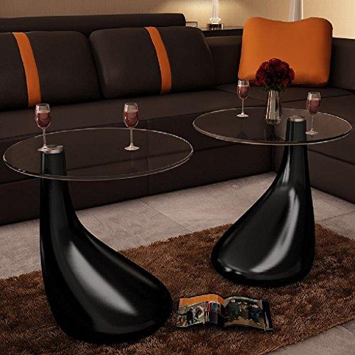 Lingjiushopping salontafel set van 2 glazen tafels, design zwart, druppelvorm, diameter van het tafelblad: 42 cm, hoogte: 55 cm