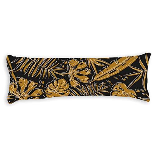 Funda de almohada decorativa para el cuerpo con diseño de plantas tropicales con cremallera para decoración del hogar, primavera, verano, granja, algodón, funda de almohada de 50,8 x 137,2 cm