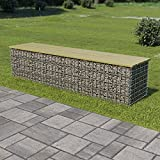 Outdoor Seating Gabion Bench 170 cm Galvanised Steel and Pinewood Board material: Pinewood, green impregnated