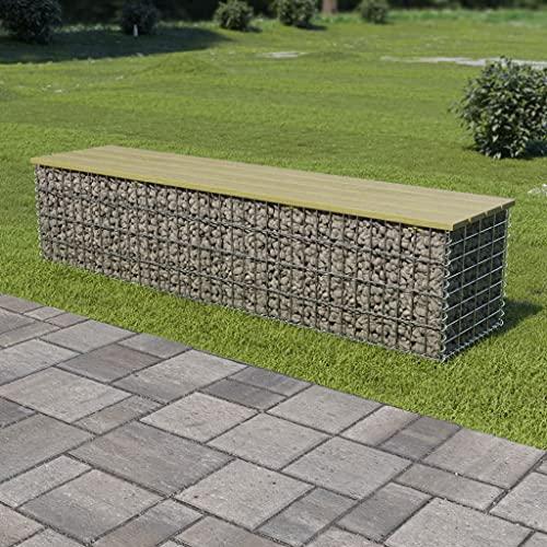 Gabionen-Bank Verzinkter Stahl und KiefernholzMöbel Gartenmöbel Gartensitzmöbel Gartenbänke 170 cm Verzinkter Stahl und Kiefernholz