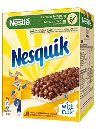 Nestlé Nesquik Barritas de Cereales con Cacao, Pack de 6 x 25g