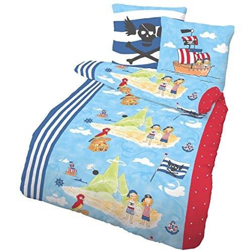 PIRATENSCHIFF Fein Biber Kinder Jungen Bettwäsche · PIRATEN, SEERÄUBER & SCHATZINSEL in Blau, Rot · Kissenbezug 80x80 + Bettbezug 135x200 cm - 100% Baumwolle