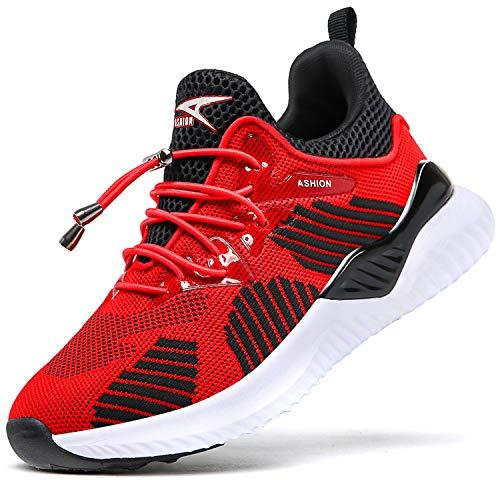 Elaphurus Kinder Sportschuhe Jungen Sneaker Mädchen Hallenschuhe Outdoor Laufschuhe Turnschuhe für Unisex-Kinder,36 EU,Weiß Rot