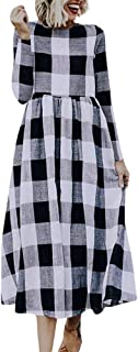 Women Casual Plaid Printing Round Neck Dress Long Sleeve Evening Party Dress