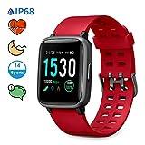Glymnis Reloj Inteligente Smartwatch Impermeable IP68 Pulsera Actividad con Pulsómetro Monitor de Sueño Pantalla Táctil Completa Reloj Deportivo para Android iOS