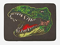 5. Ambesonne Wild T-Rex Head Dinosaur Bath Mat