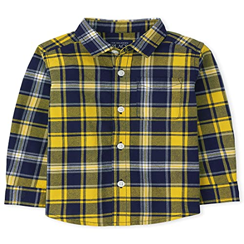 The Children's Place Baby Toddler Boy Long Roll Up Sleeves Plaid Oxford Button Down Shirt, Treasure, 18-24 Months