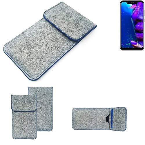 K-S-Trade Filz Schutz Hülle Für Allview Soul X5 Schutzhülle Filztasche Pouch Tasche Hülle Sleeve Handyhülle Filzhülle Hellgrau, Blauer Rand