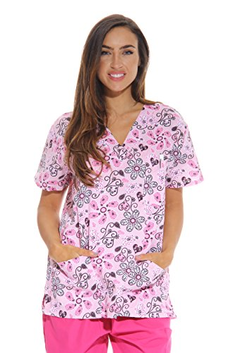 Just Love Women's Scrub Tops / Scrubs - Extra Large - Pink Flower,Pink Flower,X-Large