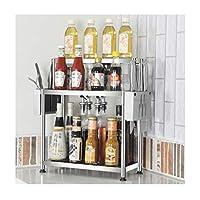 キッチンオーガナイザーキッチンシェルフステンレススチールカウンタートップ調味料ラック多層スペース収納棚