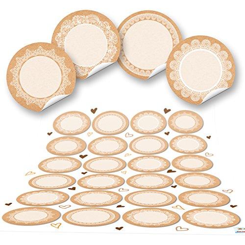 48 keine runde blanko leere beige natur hell-braun weiß Haushalts-Etiketten SPITZE Gewürzetiketten Gewürz-Aufkleber beschreibbar selbstklebende Namens-Aufkleber Verpackung Adventskalender basteln 4 cm