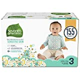 Seventh Generation Baby Diapers for Sensitive Skin, Animal Prints, Size 3, 155 Count (Packaging May Vary)