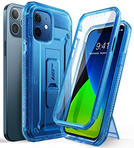 SupCase Capa Unicorn Beetle Pro Series para iPhone 12/iPhone 12 Pro (versão 2020) 6,1 polegadas, protetor de tela integrado, capa coldre robusta (TTBlue)