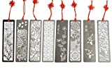 Metal Bookmarks 8 Pcs Hollow Art Stainless Steel Book Mark with Red Enless Knot