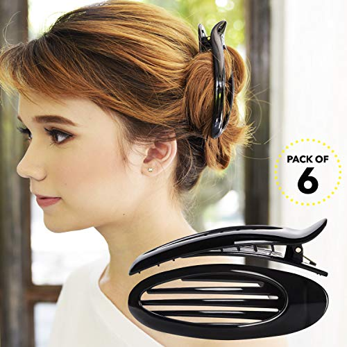 RC ROCHE ORNAMENT 6 Pcs Hair Clip Classic Oval Side Opening Slide Plastic Curve Flat Comb Inner Teeth Clamp Barrette Girls Ladies Beauty Accessory Grip, Large Black