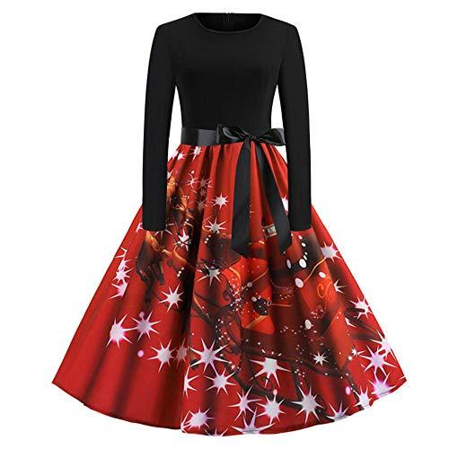 BBestseller-Vestidos de la Vendimia de la Impresión Cuello Redondo Manga Larga del Navidad Vestidos de Fiesta Vestir Skirt Falda de Las Mujeres