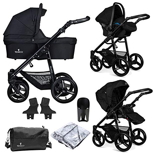 Venicci Soft Vento 3-in-1 Travel System (9 Piece Bundle) – Black/Black - with Carrycot + Car Seat + Changing Bag + Footmuff + Raincover + 5-Point Harness and UV 50+ Fabric + Car Seat Adapters