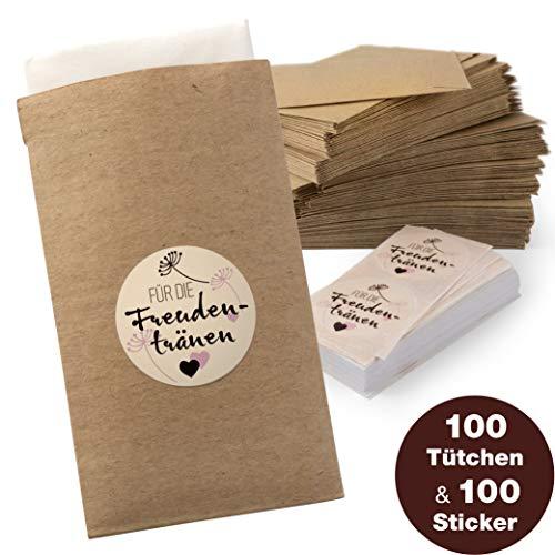 WeddingTree 100 Freudentränen Taschentücher Tüten inkl. Sticker - Flachbeutel Kraftpapier - Hochzeit DIY Gastgeschenk