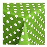 WACHSTUCH Tischdecken Wachstischdecke Gartentischdecke, Abwaschbar Meterware, Länge wählbar, Punkte Grün Weiß (150-05) 50cm x 140cm
