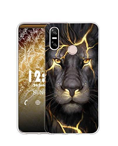Sunrive Coque Compatible avec HTC U12 Life, Silicone Étui Housse Protecteur Souple Gel Transparent Back Case(Q Lion)+ Stylet OFFERTS