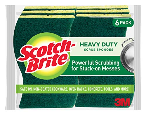 Scotch-Brite Heavy Duty Scrub Sponges, Stands Up to Stuck-on Grime, 6 Scrub Sponges