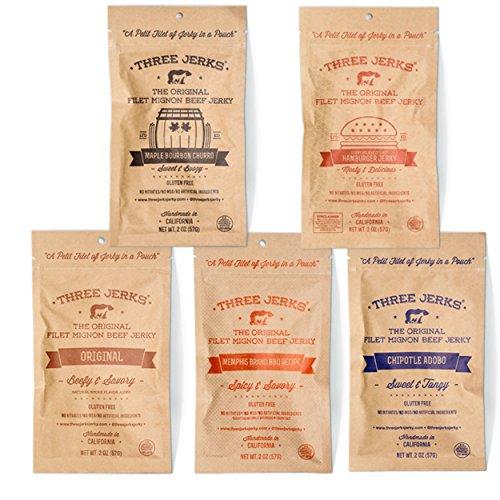 Three Jerks Filet Mignon Beef Jerky - Premium Natural Gourmet - 5 Bags of 2oz - Variety