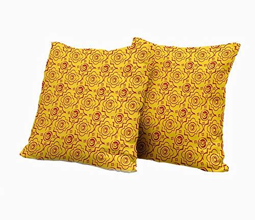SAIAOS 2er Set Dekorative Kissenbezug,Gold und Rot nahtloses byzantinisches geometrisches Muster,Super Weich Kissenbezüge Decor Kissenhülle für Sofa Couch Schlafzimmer Wohnzimmer 45x45cm