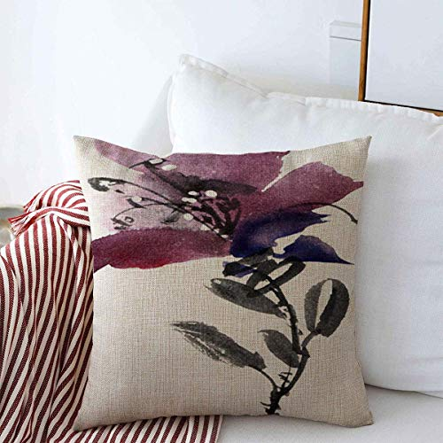 Staroind Throw Pillow Covers 18' x 18' Ink Blue Artistic Watercolor Flower Sumie Usin Hand Nature Purple Asian Black Bloom Design Cushion Cotton Linen Case for Winter Home Decorative