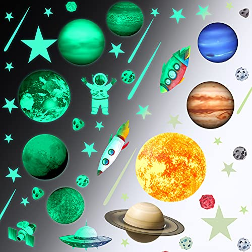 71 Pieces Glow in The Dark Solar System Wall Decals, Glowing Stars Planets for Ceiling Galaxy...