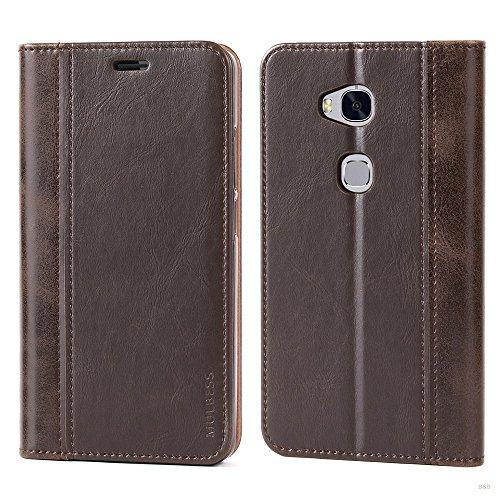 Mulbess Handyhülle für Huawei Honor 5X Hülle Leder, Wallet Case Leder Flip Schutzhülle für Huawei Honor 5X Tasche Bookcase, Coffee Braun