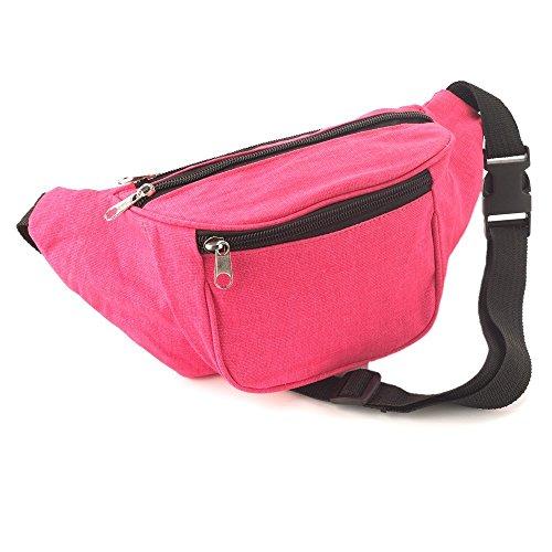 Bright Neon Pink Fabric Bum Bag / Belt Bag