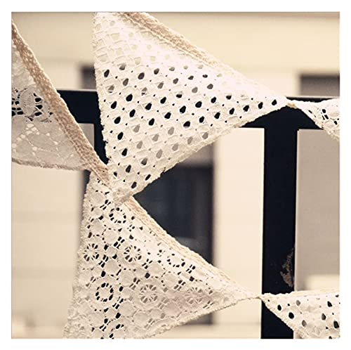 Wedding decoration White Lace Fabric Banner Pennant Wedding Bunting Decor Party Birthday Garland Home Decoration (Color : White)