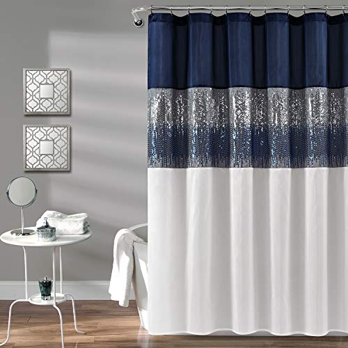 Lush Decor, Navy and White Night Sky Shower Curtain | Sequin Fabric Shimmery Color Block Design for Bathroom, x 72