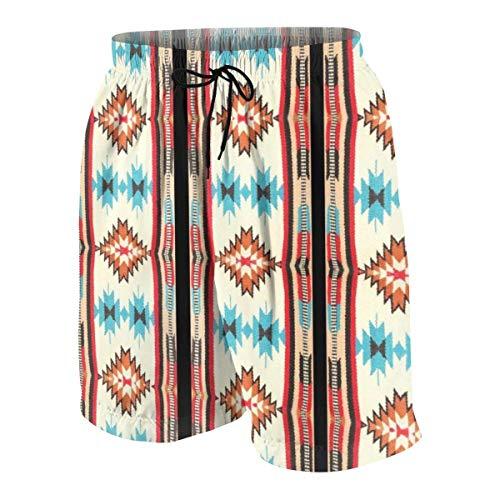 Yuanmeiju Tribal Western Native Pattern Print - Iran 's Coperta da Uomo Pantaloncini hawaiani Quick Dry Swim 3D Stampato Elastico da Spiaggia Short Aloha Short con Tasca