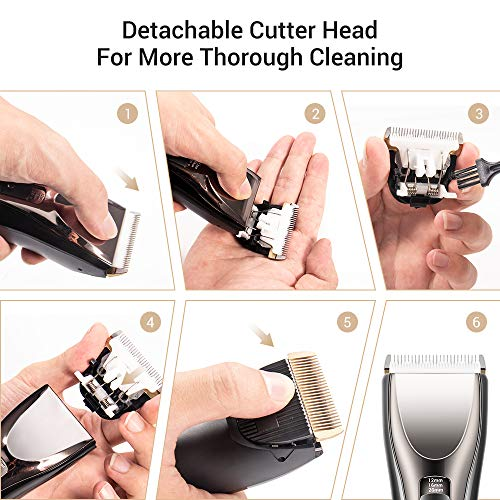 Professional Hair Clippers for Men Durable Electric Rechargeable Hair Cutting Kit LED Display Shaver...
