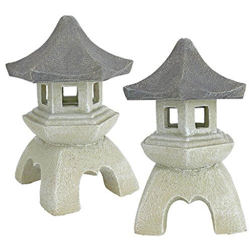 Design Toscano NG729869 Asian Pagoda Statues Medium - Set of Two,two tone stone