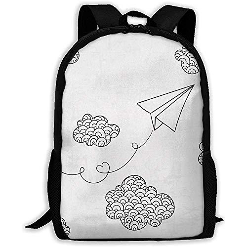 Zufälliger Backpack,Notizbuch Reiseeucksack,Multifunktionsrucksack,Tagesrucksack,Papierflieger Und Wolken Verstellbare Schulhefttaschen,Lässiger Laptop-Rucksack,Student College-Tagesrucksack