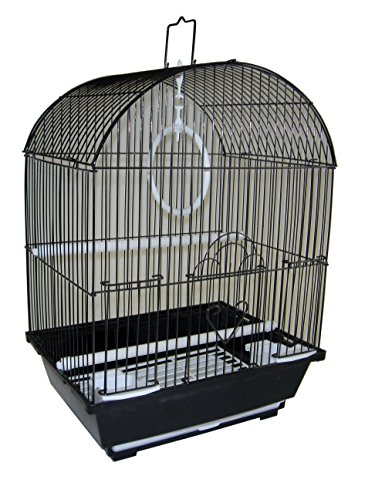 YML A1104BLK Round Top Style Small Parakeet Cage, 11 x 9 x 16