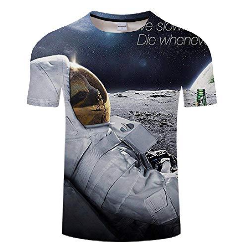 Verano Juventud Ocio Ola Astronauta Camiseta Impreso 3D Color Cuello Redondo Camiseta para Hombres y Mujeres M