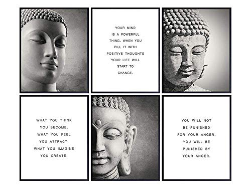 Inspirational Buddhism Quotes Set - Zen Home Decoration Wall Art Decor for Living Room, Yoga Studio, Office - Unique New Age Gift for Buddhist, Meditation Instructor - 8x10 Buddha Prints - Unframed
