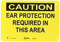 """Master Lock S6150 10"""" Width x 7"""" Height Polypropylene, Black on Yellow Safety Sign, Header """"Caution"""", Legend """"Ear Protection Required In This Area"""""""