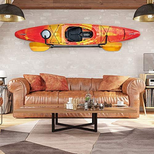 2 Pezzi Kayak-Supporto da Parete,Kayak Canoe Resistente a Parete Holder Storage Rack Wall Mounted Kayak, Supporto da Muro per Kayak e Paddle, Nero