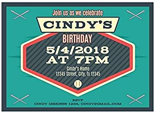 Baseball Blue Vintage Birthday Party Invitations