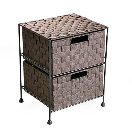 Versa 19480241 Mueble 2 Cajones Chocolate,44x29x35cm,Nylon y metal,Cajonera,Baño
