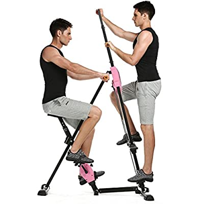 ANCHEER 2 in 1 Vertical Climber Step Fitness Machines Exercise Bike ?Adjustable Height Home Cardio Workout Training Full Body Workout for Women Men Fitness Stepper Trainer Climber (Pink)