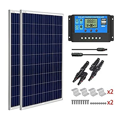 SUNGOLDPOWER 200 Watt 12V Polycrystalline Solar Panel Solar Module?2pcs 100W Polycrystalline Solar Panel Solar Cell Grade A +20A LCD PWM Charge Controller Solar+MC4 Extension Cables+Z-Brackets