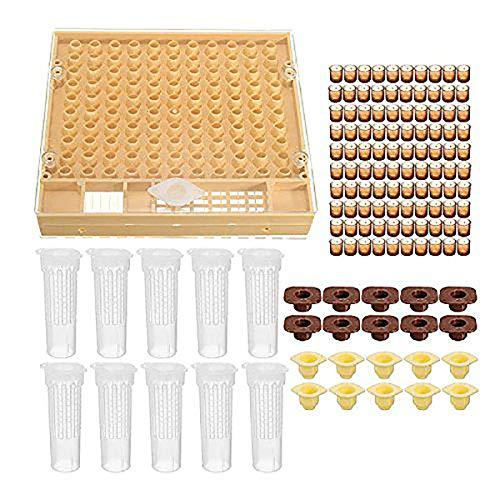 MLXG - Juego de taza de apicultura 100 juego de herramientas de abejas de células, sistema de elevación de las reinas y jaula de plato completa de abeja auxiliar de apicultura